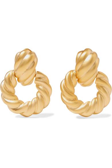 Gold Tone Clip Earrings by Kenneth Jay Lane