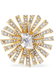 Kenneth Jay Lane Rhodium-plated crystal brooch