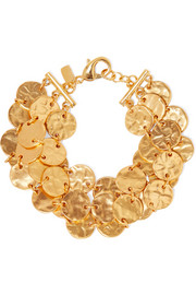 Kenneth Jay Lane Hammered gold-tone anklet