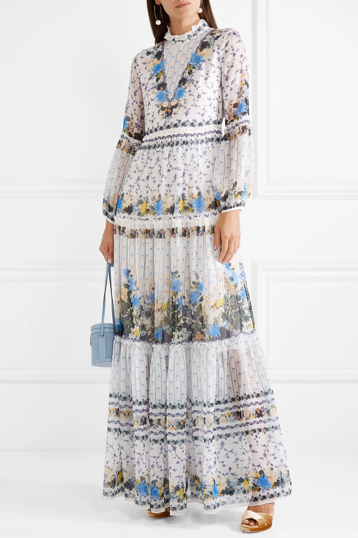 Erdem Cassandra tiered silk-chiffon gown