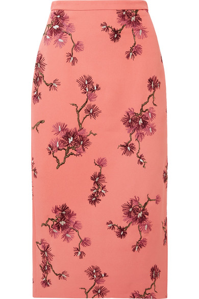 ERDEM Maira Embroidered Crepe Midi Skirt in Pink