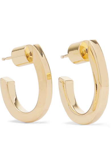 pod jennifer fisher pin plated hoop gold earrings