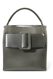 BOYY Devon buckled velvet and leather tote