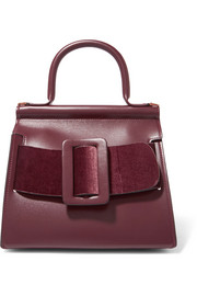 Karl 24 buckled leather and velvet tote