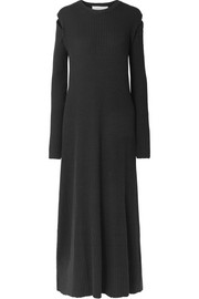 Cutout ribbed merino wool maxi dress