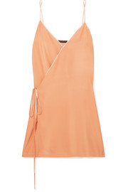 Wrap-effect charmeuse-trimmed washed-silk chemise