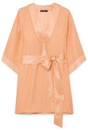 Kiki de Montparnasse Charmeuse-trimmed washed-silk robe