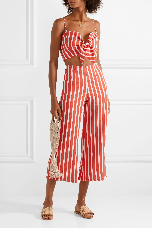 Faithfull The Brand De Fiori cropped striped linen top