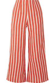 Faithfull The Brand Tomas cropped striped linen wide-leg pants