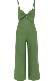 Faithfull The Brand Presley cropped tie-front linen jumpsuit