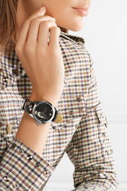 Printed textured-leather and silver-tone watch