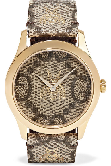 COATED-CANVAS AND GOLD-TONE WATCH