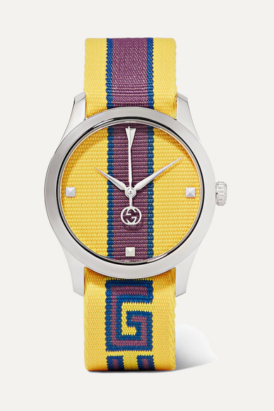 Striped Canvas And Stainless Steel Watch, Yellow