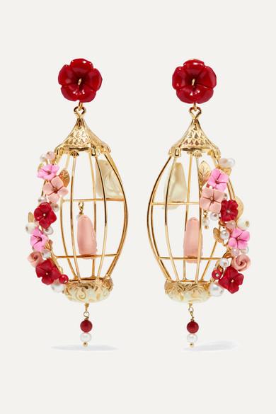 Hedera Gold Vermeil, Pearl And Diamond Clip Earrings - White Of Rare Origin