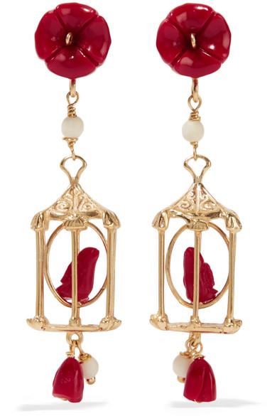 OF RARE ORIGIN Pagoda Gold Vermeil Multi-Stone Earrings in Red