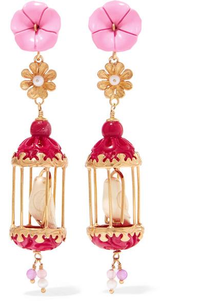 OF RARE ORIGIN Aviary Gold Vermeil Multi-Stone Earrings in Pink