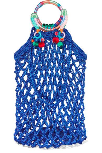 NANNACAY Fishnet Pompom-Embellished Macramé Tote in Blue