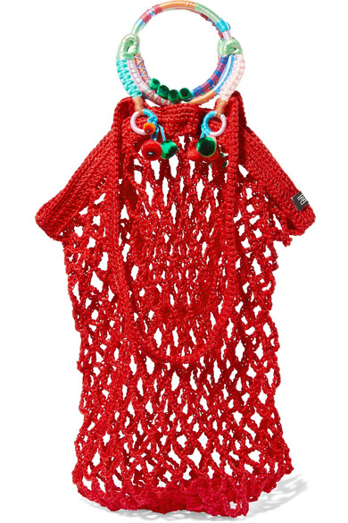 NANNACAY Fishnet Pompom-Embellished Macramé Tote in Red