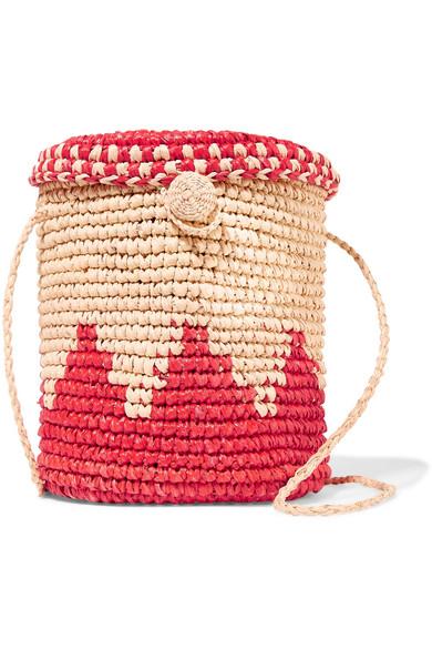 NANNACAY Two-tone woven raffia shoulder bag