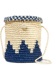 Two-tone woven raffia shoulder bag