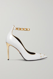 Balmain Embellished metallic-trimmed leather pumps