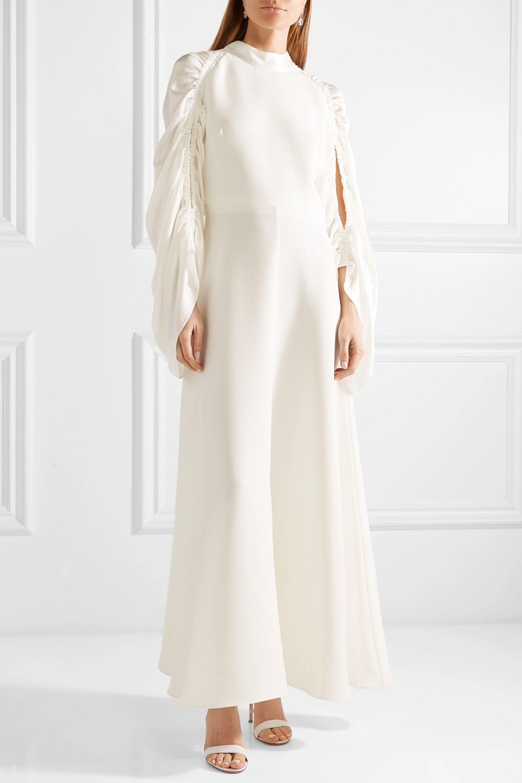 Roksanda Zariah ruched silk-blend crepe and hammered-satin gown