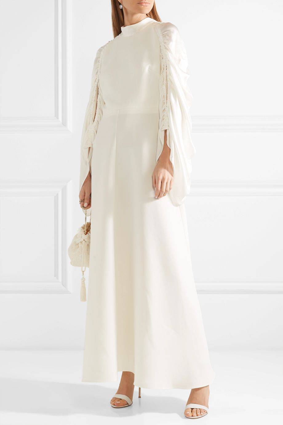 Roksanda Zariah ruched silk-blend crepe and hammered-satin gown