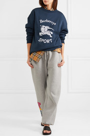 Flocked cotton-blend jersey sweatshirt