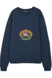 Embroidered cotton-blend jersey sweatshirt