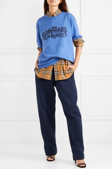 Burberry Besticktes T-Shirt aus Baumwoll-Jersey in Oversized-Passform