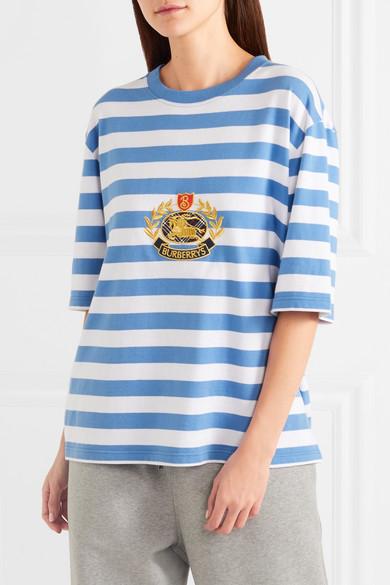 Burberry Besticktes T-Shirt aus gestreiftem Baumwoll-Jersey in Oversized-Passform