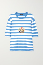 Burberry Oversized embroidered striped cotton-jersey T-shirt