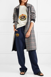 Reversible gabardine and checked wool coat