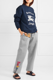 Embroidered cotton-blend jersey track pants