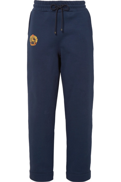 Embroidered Cotton-Blend Jersey Track Pants, Navy