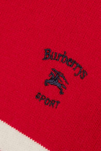 Burberry Gesteifter Wollpullover mit Stickerei