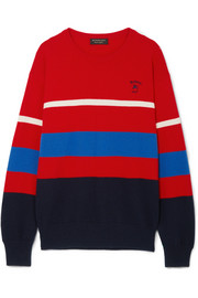 Burberry Embroidered striped wool sweater