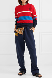 Embroidered striped wool sweater
