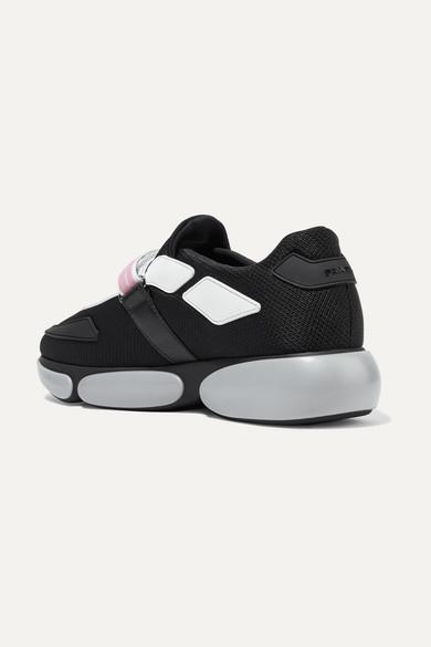 Cloudbust Logo-print Rubber And Leather-trimmed Mesh Sneakers - Black Prada WzJJWkYPK