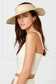 Canvas-trimmed toquilla straw visor