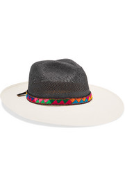 Jacquard-trimmed two-tone toquilla straw Panama hat
