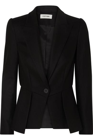 CEFINN Wool-Blend Twill Peplum Blazer in Black