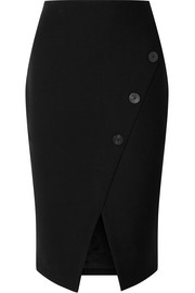 Button-embellished stretch-crepe pencil skirt