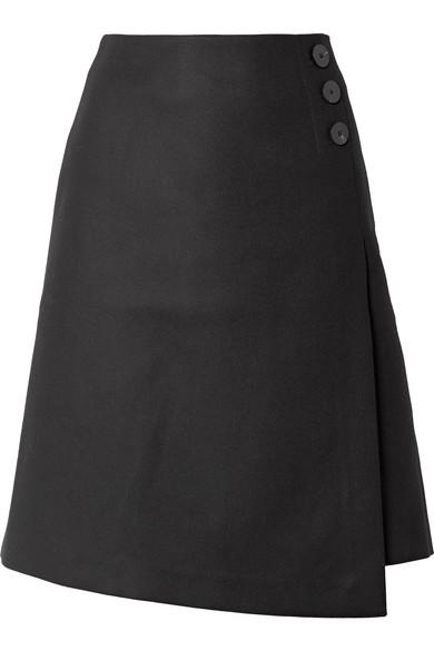 CEFINN Wool-Blend Wrap-Effect Skirt