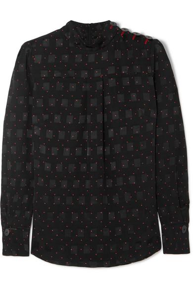 CEFINN Printed Jacquard Blouse in Black