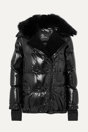 Seelisberg shearling-trimmed quilted glossed-shell down jacket