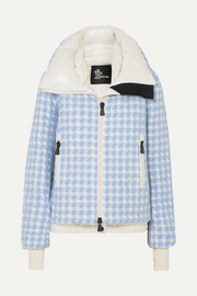 Mufule checked embroidered quilted glossed-shell down jacket