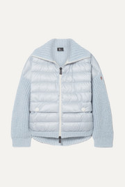Moncler Grenoble Oversized quilted shell and knitted cardigan