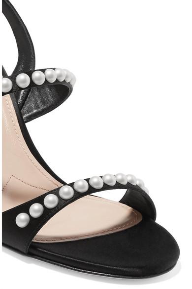 Miu Miu Sandals Faux pearl-embellished suede slingback sandals