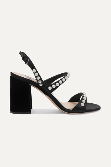 Faux Pearl-embellished Suede Slingback Sandals - Black Miu Miu kBBnkr